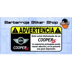 Pegatina advertencia mini coper s