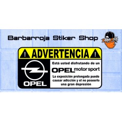Pegatina advertencia opel motorsport