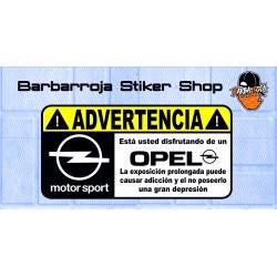 Pegatina advertencia opel motorsport 02