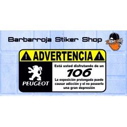 Pegatina advertencia peugeot 106 02