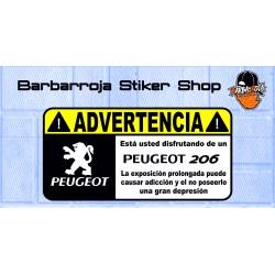 Pegatina advertencia peugeot 206