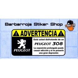 Pegatina advertencia peugeot 308