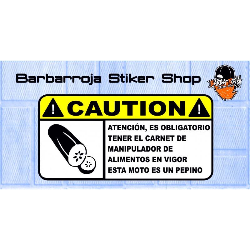 Pegatina advertencia esta moto es un pepino