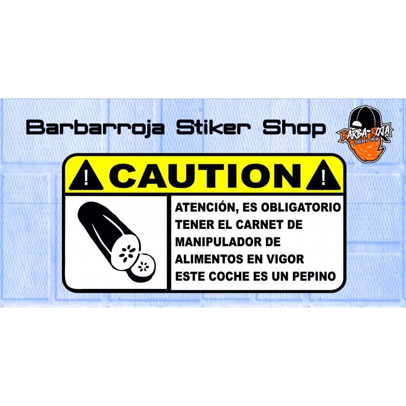 Pegatina advertencia este coche es un pepino